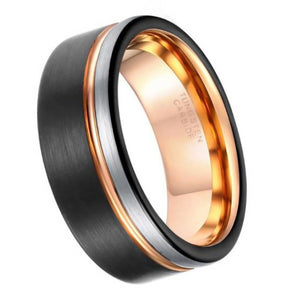 Classy Men Black & Gold Tungsten Ring - Classy Men Collection