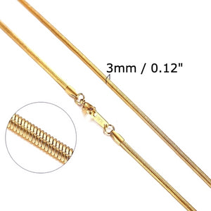 Classy Men 3mm Gold Snake Chain Necklace