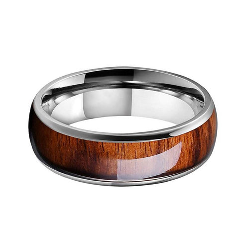Classy Men Silver Koa Wood Tungsten Ring
