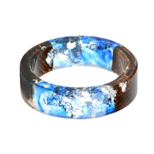 Classy Men Wood Epoxy Ring Blue