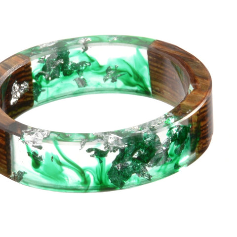 Classy Men Wood Epoxy Ring Green