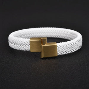 Classy Men White & Gold Braided Leather Bracelet