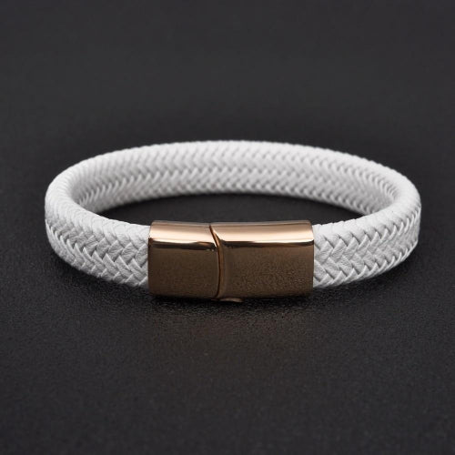 Classy Men White & Rose Gold Braided Leather Bracelet