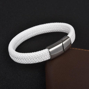 Classy Men White & Silver Braided Leather Bracelet