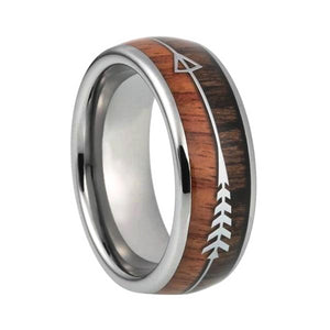 Classy Men Two-Tone Silver Wood Ring