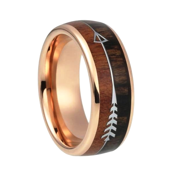 Classy Men Two-Tone Rose Gold Wood Ring