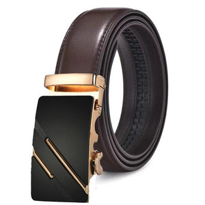 Classy Men Brown & Gold Leather Suit Belt - Classy Men Collection