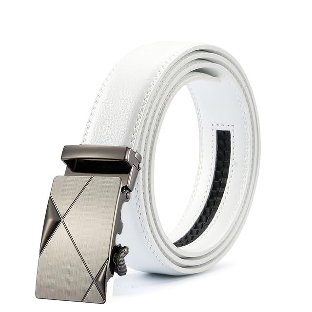 Classy Men White Leather Suit Belt