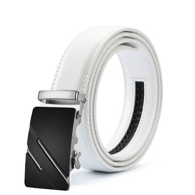 Classy Men White & Silver Leather Suit Belt