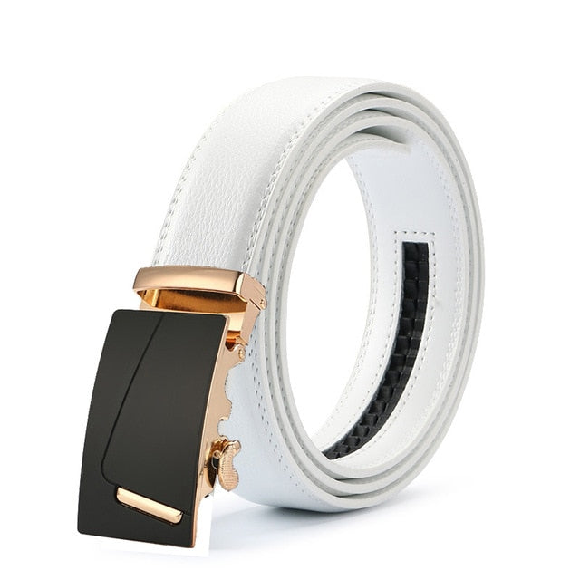 Classy Men White & Gold Leather Suit Belt