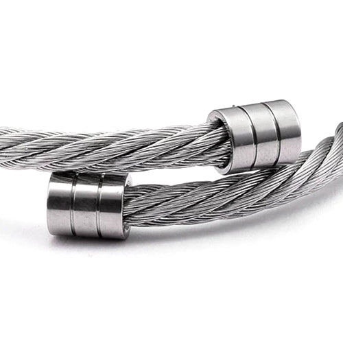 Classy Men Silver Twisted Bangle Bracelet