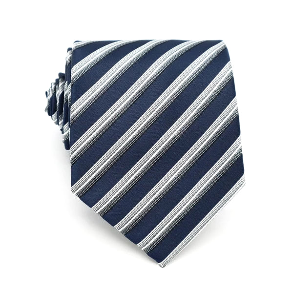 Classy Men Blue White 3D Striped Silk Tie