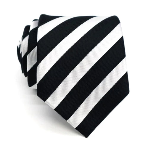 Classy Men Black White Striped Silk Tie