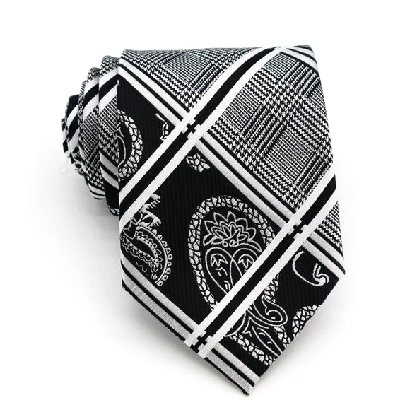 Classy Men Black White Paisley Striped Tartan Silk Tie