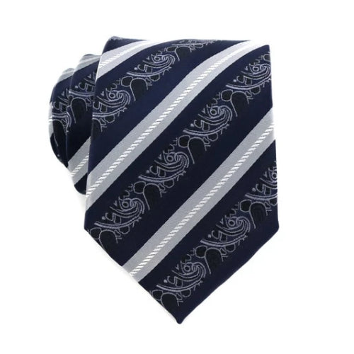 Classy Men White Navy Striped Pattern  Silk Tie