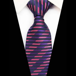 Classy Men Pink & Purple Striped Silk Tie