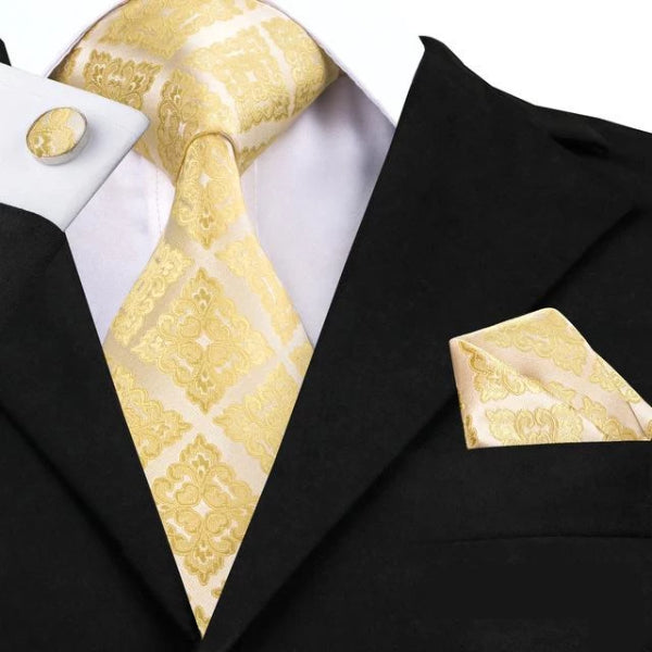 Classy Men Gold Yellow Square Floral Silk Tie