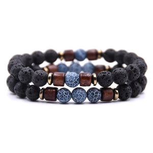 Classy Men Beaded Blue Wooden Bracelet Set - Classy Men Collection