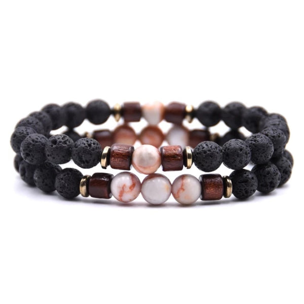 Classy Men Beaded Peach Wooden Bracelet Set - Classy Men Collection