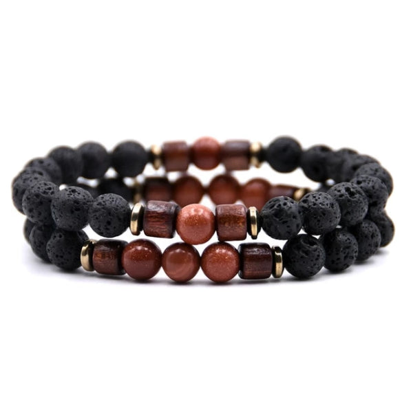 Classy Men Beaded Goldstone Wooden Bracelet Set - Classy Men Collection