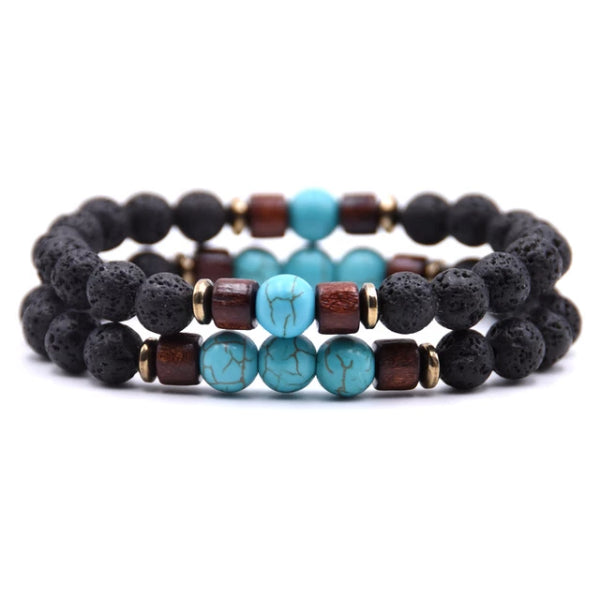 Classy Men Beaded Turquoise Wooden Bracelet Set - Classy Men Collection