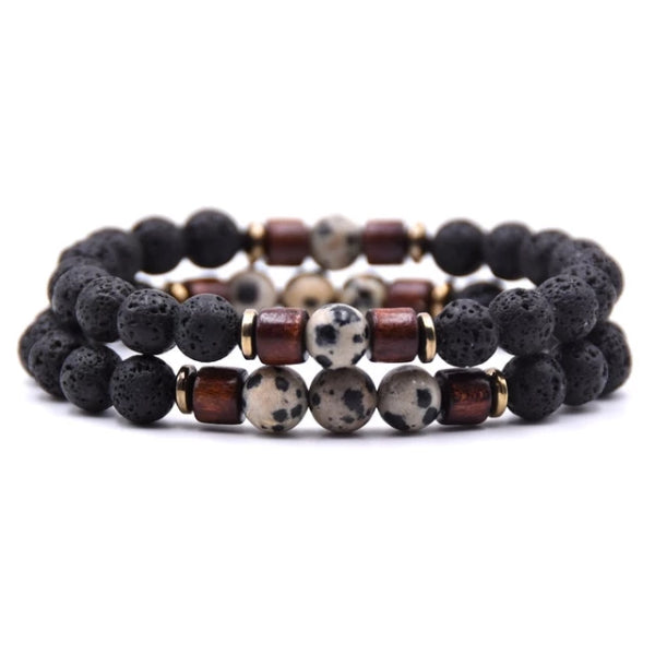 Classy Men Beaded Dalmatian Wooden Bracelet Set - Classy Men Collection