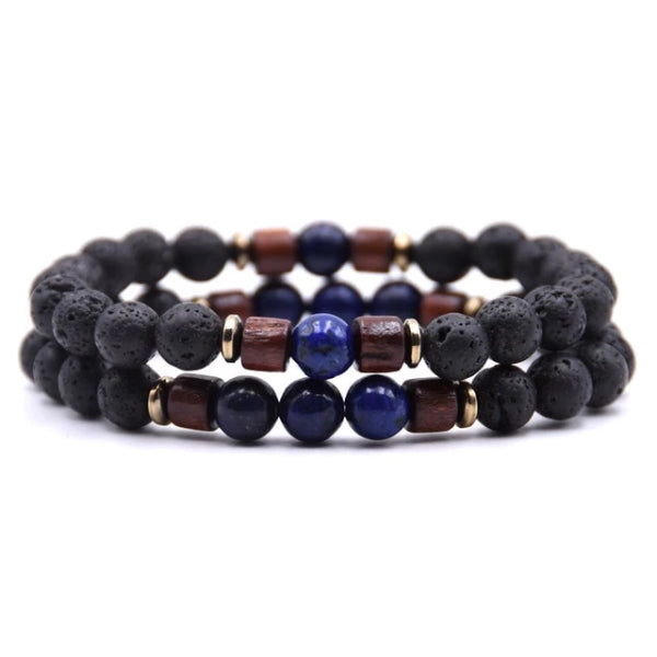 Classy Men Beaded Sodalite Wooden Bracelet Set - Classy Men Collection