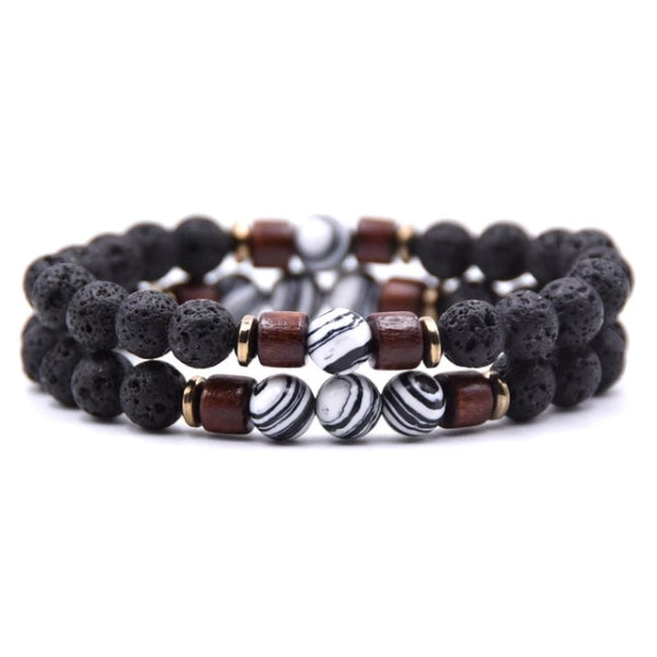 Classy Men Beaded Zebra Wooden Bracelet Set - Classy Men Collection