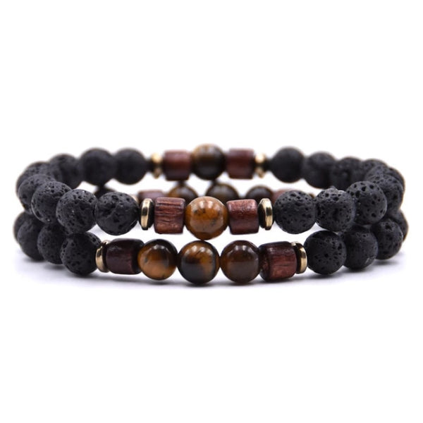 Classy Men Beaded Tiger Eye Wooden Bracelet Set - Classy Men Collection