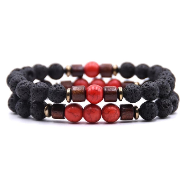 Classy Men Beaded Red Wooden Bracelet Set - Classy Men Collection