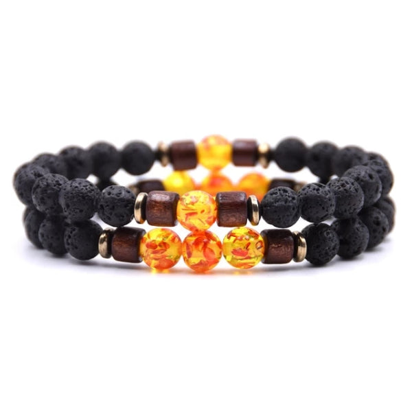 Classy Men Beaded Amber Wooden Bracelet Set - Classy Men Collection