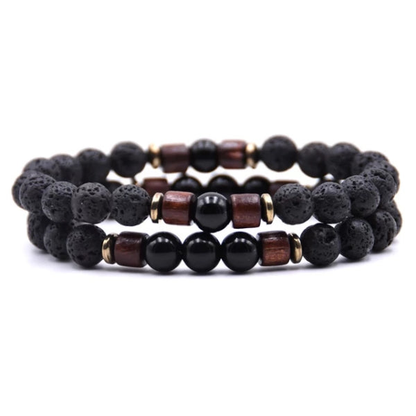 Classy Men Beaded Black Wooden Bracelet Set - Classy Men Collection
