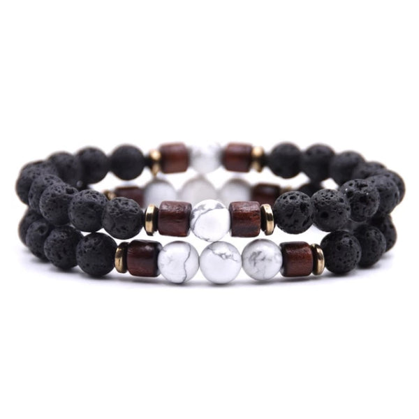 Classy Men Beaded Marble Wooden Bracelet Set - Classy Men Collection