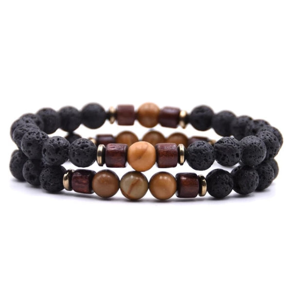 Classy Men Beaded Bronze Wooden Bracelet Set - Classy Men Collection