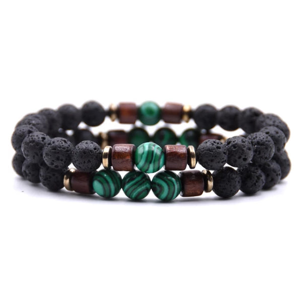 Classy Men Beaded Green Wooden Bracelet Set - Classy Men Collection