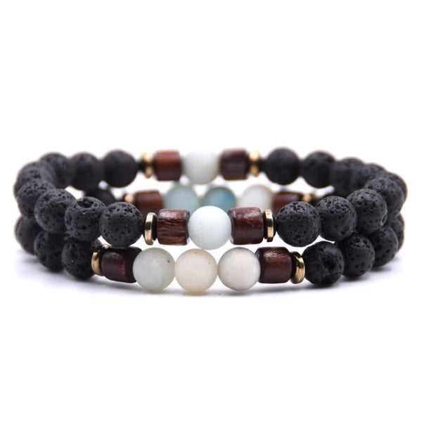 Classy Men Beaded Pastel Wooden Bracelet Set - Classy Men Collection