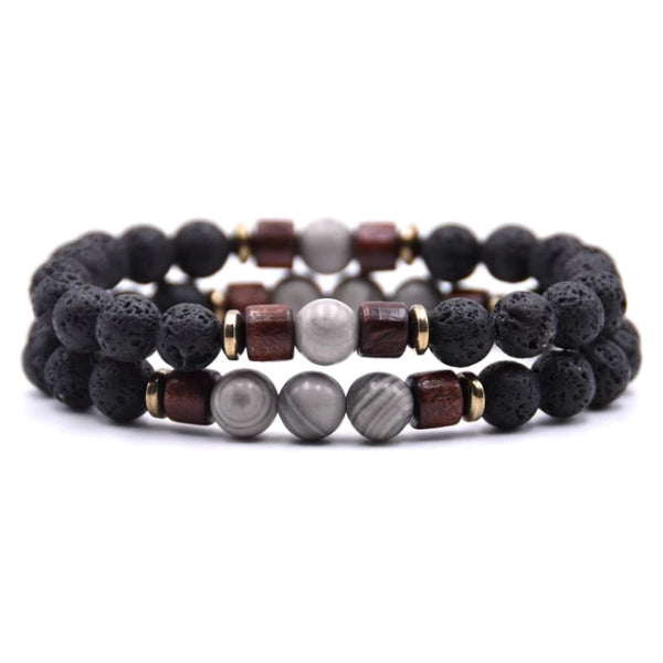 Classy Men Beaded Silver Wooden Bracelet Set - Classy Men Collection