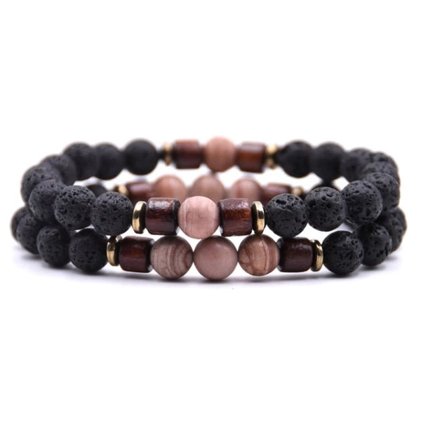 Classy Men Beaded Desert Wooden Bracelet Set - Classy Men Collection