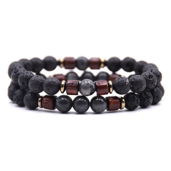Classy Men Beaded Grey Wooden Bracelet Set - Classy Men Collection