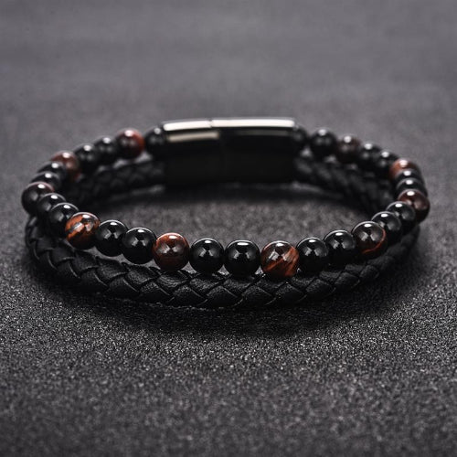 Classy Men Black Dual Beaded Leather Bracelet - Classy Men Collection