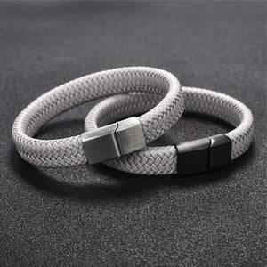 Classy Men Grey Braided Leather Bracelet - Classy Men Collection