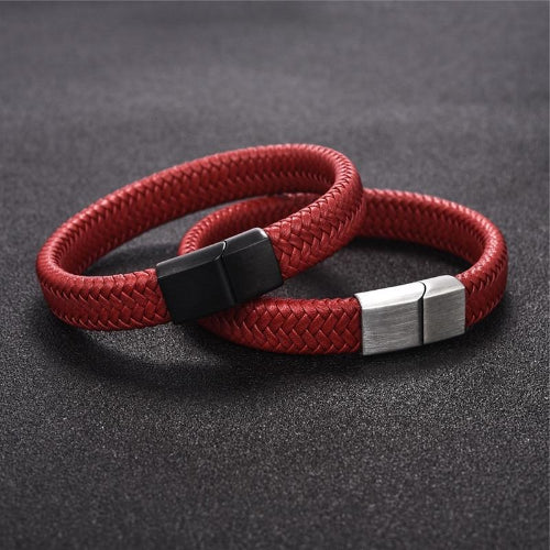 Classy Men Red Braided Leather Bracelet - Classy Men Collection