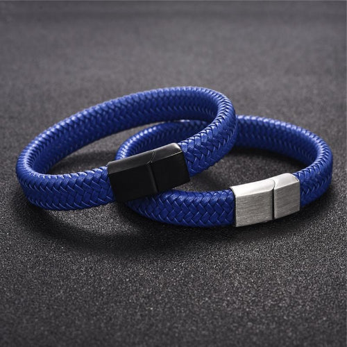 Classy Men Blue Braided Leather Bracelet - Classy Men Collection