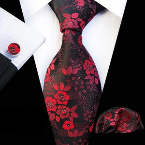 Classy Men Red Dark Brown Floral Silk Tie
