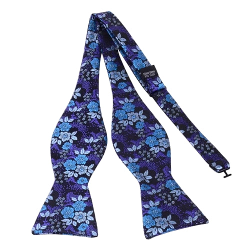 Classy Men Purple Floral Silk Self-Tie Bow Tie