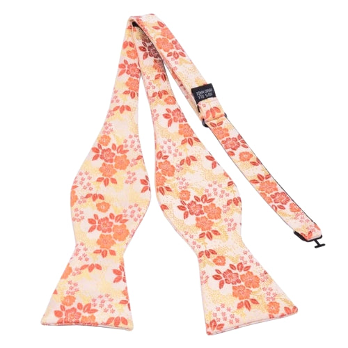 Classy Men Peach Floral Silk Self-Tie Bow Tie