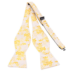Classy Men Yellow Floral Silk Self-Tie Bow Tie