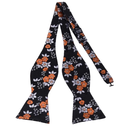 Classy Men Orange Floral Silk Self-Tie Bow Tie