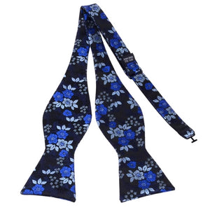 Classy Men Blue Floral Silk Self-Tie Bow Tie - Classy Men Collection