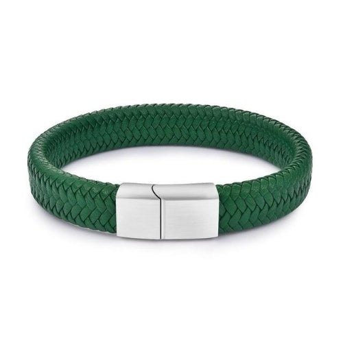 Classy Men Green Braided Leather Bracelet - Classy Men Collection